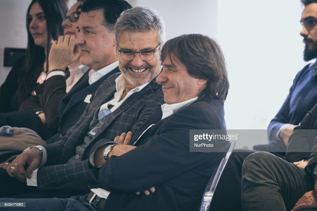 """The ex player fo As Rome Bruno Conti attend , The ex player fo As Rome Paulo Roberto Falcao (not seen) during his documentary """"Tell me who's Falcao"""", at the As Roma center in Trigoria, Rome, Italy, on 23 February 2017"""