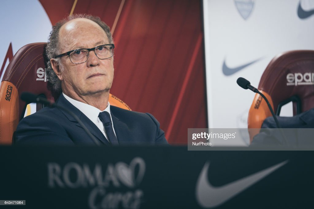 """The ex player fo As Rome, Paulo Roberto Falcao, presents his documentary """"Tell me who's Falcao"""", at the As Roma center in Trigoria, Rome, Italy, on 23 February 2017"""