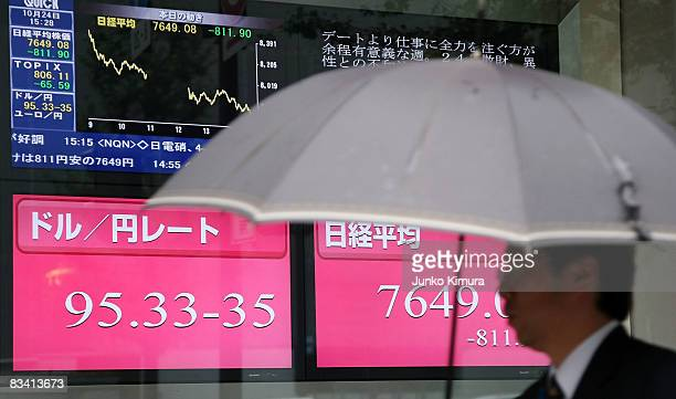 The exchange rate Japanese yen against US Dollar and Nikkei Stock Average is displayed on an electric board on October 24 2008 in Tokyo Japan Nikkei...