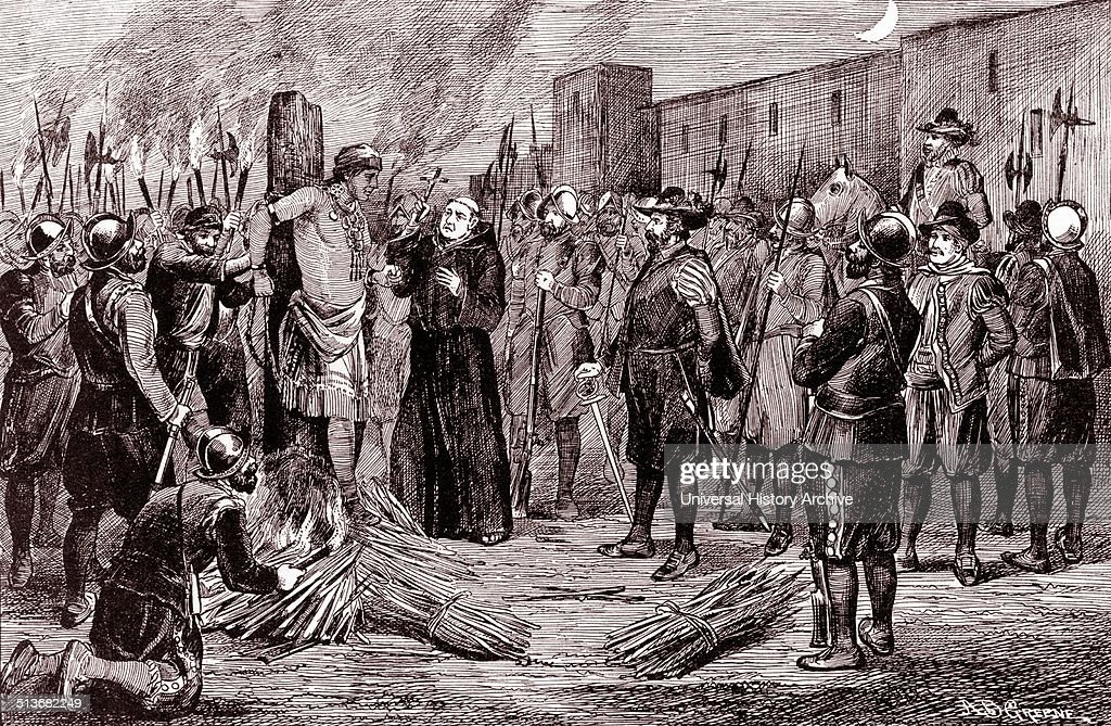 The execution of Inca by AB Greene The Spaniards burnt Atahualpa at the stake with a monk presiding holding crucifix to the right Atahualpa was the...
