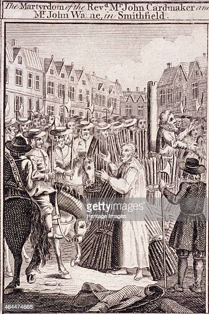The execution of John Cardmaker and John Warne at Smithfield The execution took place during the Protestants' persecution in the reign of Mary I
