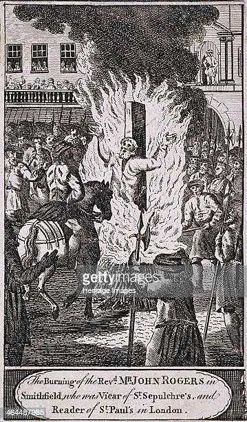 The execution of Reverend John Rogers at Smithfield The execution took place during the Protestants' persecution in the reign of Mary I