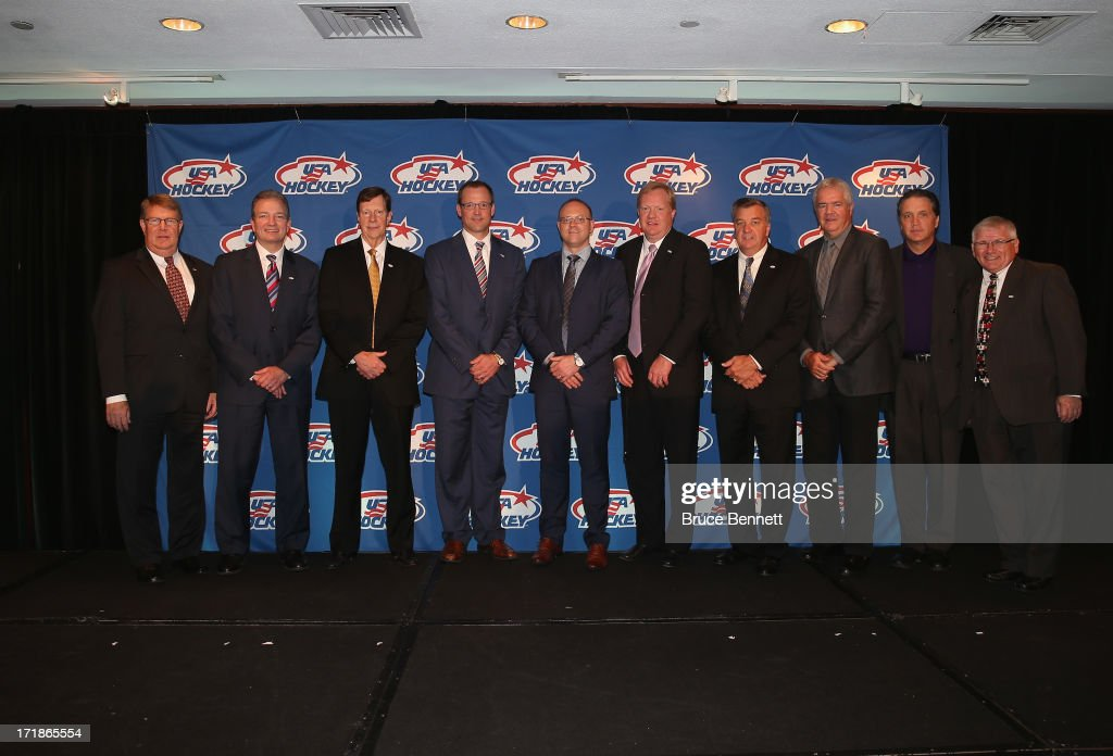 The executive and organizing committees for the 2014 Men's Olympic Hockey Team are introduced to the media at the Marriott Marquis Hotel on June 29, 2013 in New York City.