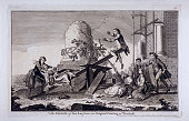 'The Exercise of See Saw' Vauxhall Gardens Lambeth London c1745 showing a young man and woman on a seesaw As the woman loses her balance she is...