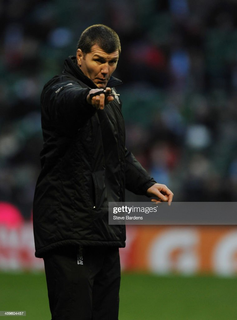 The Exeter Chiefs Director of Rugby Rob Baxter gestures before the Aviva Premiership match between Harlequins and Exeter Chiefs at Twickenham Stadium on December 28, 2013 in London, England.