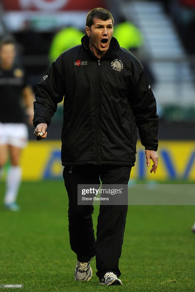 The Exeter Chiefs Director of Rugby Rob Baxter reacts before the Aviva Premiership match between Harlequins and Exeter Chiefs at Twickenham Stadium on December 28, 2013 in London, England.