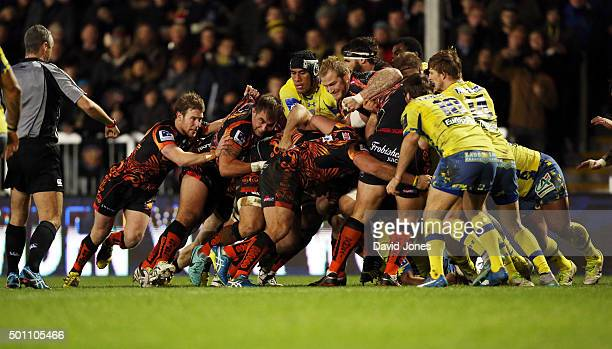 The Exeter Chiefs pack drives at the Clermont Auvergne defence during the European Rugby Champions Cup match between Exeter Chiefs and Clermont...