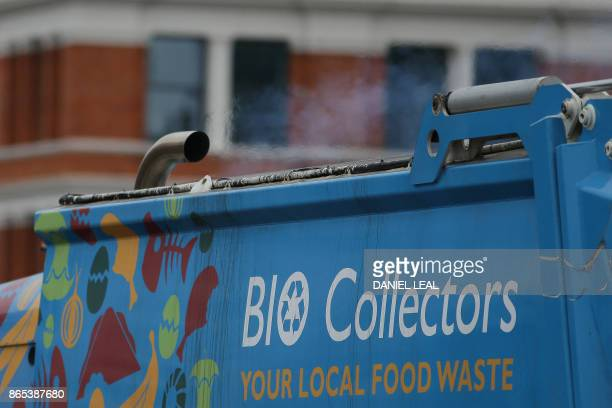 The exhaust of a trucks emits fumes in central London England on October 23 2017 Drivers of the most polluting vehicles will face an extra daily...