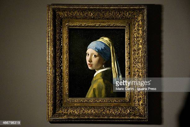 The exhibit 'The girl with pearl earring' of Johannes Vermeer from Mauritshuis Museum in Den Haag to Palazzo Fava on January 30 2014 in Bologna Italy