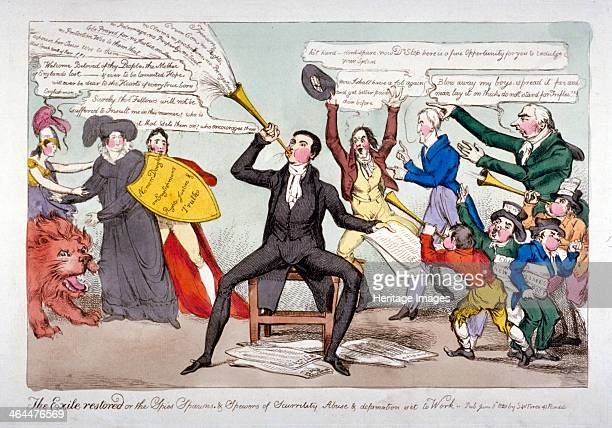 'The exile restored or the spies spawns spewers of scurrility abuse defamation set to work' 1820 Sir John Stoddart sitting on a chair blowing a blast...