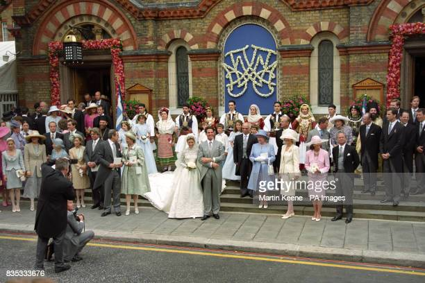The exiled Crown Prince Pavlos of Greece after his wedding to heiress MarieChantal Miller at the Greek Orthodox Cathedral of St Sophia in Bayswater...
