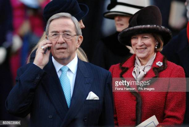 The exiled King and Queen of Greece depart leave Westminster Abbey London after a service of celebration to mark the diamond wedding anniversary of...