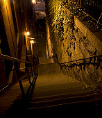 """Sinister evening shot of infamous steps between Prospect Street and M Street in Washington, DC, featured in the movie """"""""The Exorcist"""""""""""