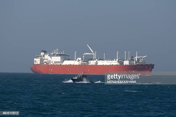 The Expedient regasification ship is anchored off the coast of Israel in the Mediterranean Sea on February 26 2015 as natural gas began flowing from...