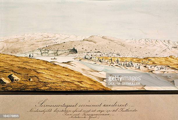 The expedition camp watercolour by Moller from Account of an Expedition to Greenland in the Year 1870 by Adolf Erik Nordenskiold Nils Greenland 19th...