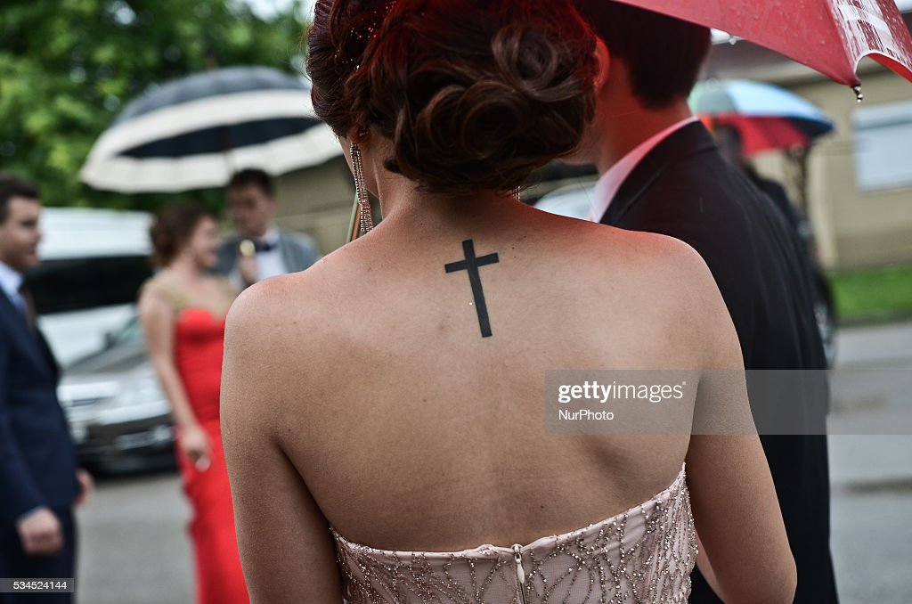 The expensive dresses and stylish hairstlyles play an important role in promotion balls of the Bulgarian high school graduates on promotion parade in thebulgarian border town of Svilengrad, Bulgaria on May 25, 2016
