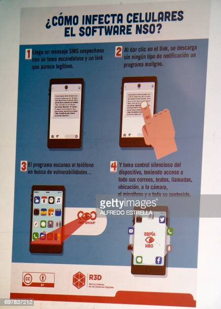 The explanation on how an espionage tool infects mobile phones is seen during a journalists' press conference in Mexico City on June 19 on an article...