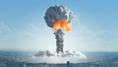 The explosion of a nuclear charge in a big city.