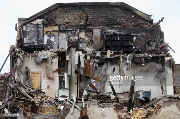 The exposed side of a burntout building in Tottenham following the riots in the area last week on August 16 2011 in London England The Home Secretary...
