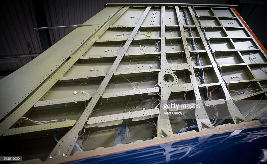 The exposed tail fin of the Bloodhound SSC vehicle is seen on display inside the design centre in Avonmouth on February 24 2016 in Bristol England It...