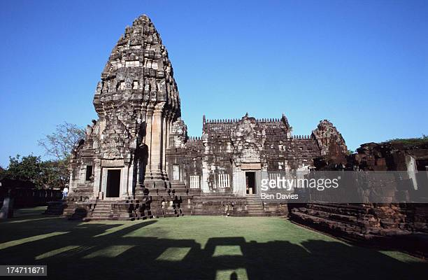The exquisitely restored Khmer temple of Prasat Hin Phimai in Phimai Northeast Thailand was built sometime during the 11th century out of sandstone...