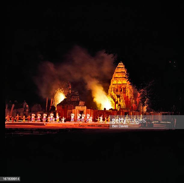 The exquisitely restored Khmer temple of Prasat Hin Phimai in the Northeast of Thailand illuminated during the annual festival of light and sound The...
