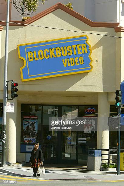 The exterior of a Blockbuster video rental store is seen February 10 2004 in San Francisco Shares of Blockbuster the world's top movie rental chain...