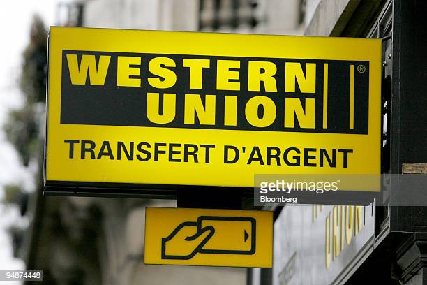 The exterior of a Western Union office is seen near place d'Italie in Paris France Thursday January 26 2006 First Data Corp said it plans to spin off...