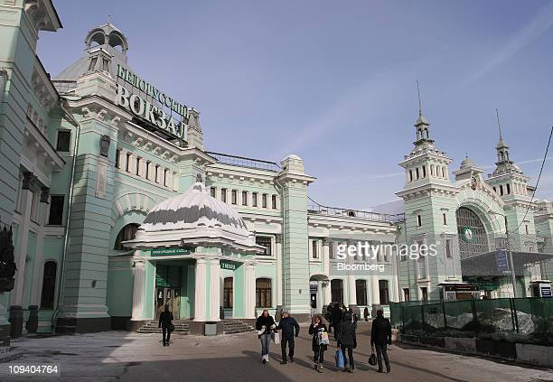 The exterior of Belorussky railway station is seen in Moscow Russia on Thursday Feb 24 2011 Russia's stateowned railway the biggest corporate issuer...
