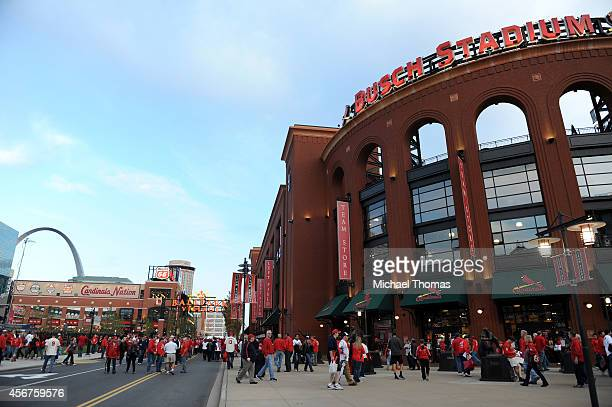 The exterior of Busch Stadium is seen before the start of Game Three of the National League Division Series between the St Louis Cardinals and Los...