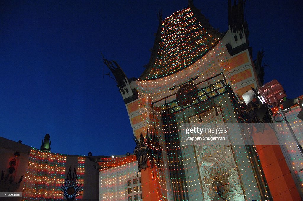 The exterior of Mann's Grauman Chinese Theater is seen after being lit with Christmas lights at the 20th Century Fox Premiere of 'Deck The Halls' at...