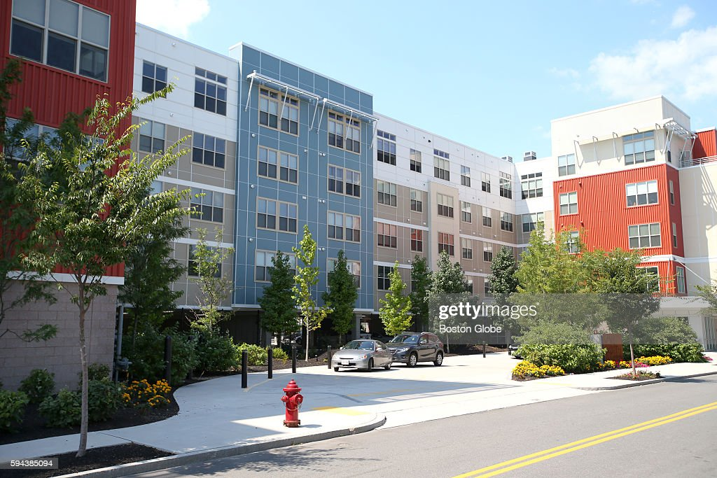 The exterior of One Hundred Heard Street built by One North of Boston a complex of apartments in Chelsea that both accommodate residents and their...