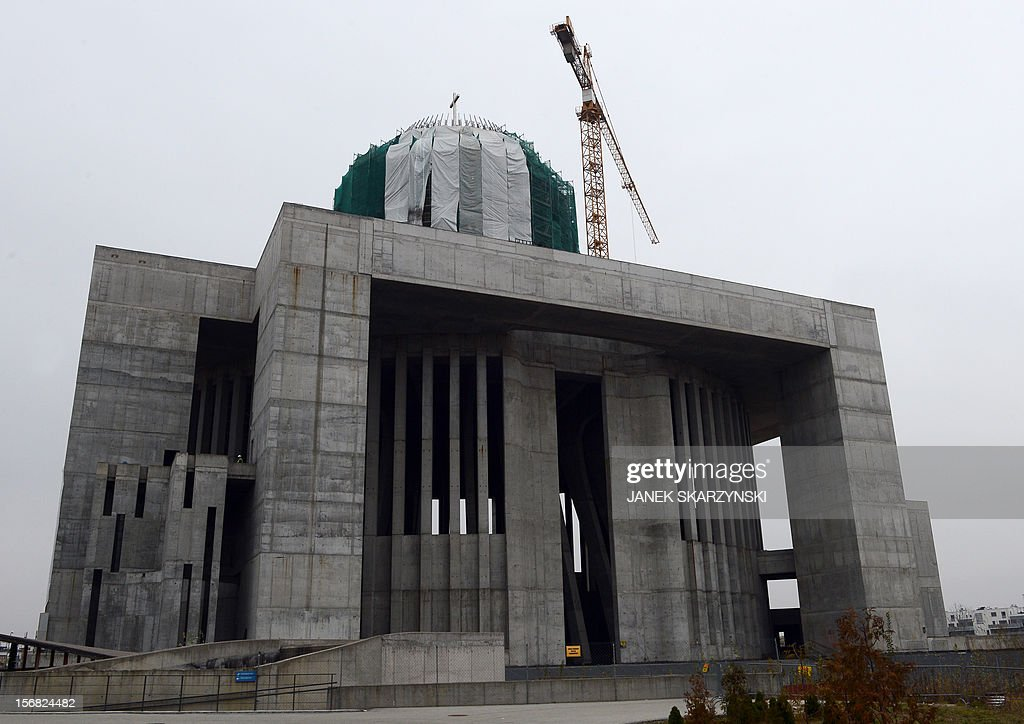 The exterior of Providence Temple in Warsaw is pictured on November 22, 2012. Four victims of the presidential plane crash near the Russian city of Smolensk on April 10, 2010 are buried in temple. It emerged on November 21 the remains of two priests had been mixed up and they had been interred in each other's graves, one at Warsaw's soaring Temple of Divine Providence and the other at a cemetery in the capital's suburb of Pyry.