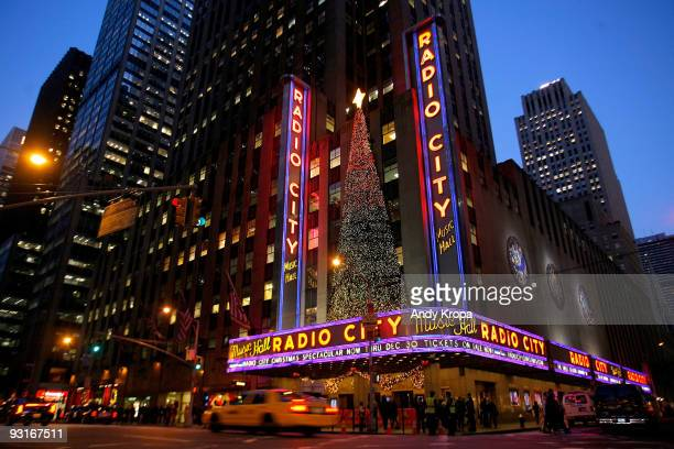 The exterior of Radio City Music Hall is seen on the opening night of 'The 2009 Radio City Christmas Spectacular' on November 17 2009 in New York City