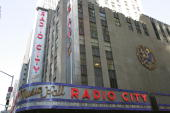 The exterior of Radio City Music Hall is shown during the 2006 NFL Draft on April 29 2006 at Radio City Music Hall in New York New York