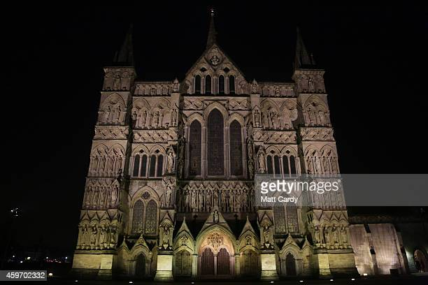 The exterior of Salisbury Cathedral is seen during the annual 'darkness to light' advent procession on November 28 2014 in Salisbury England The...