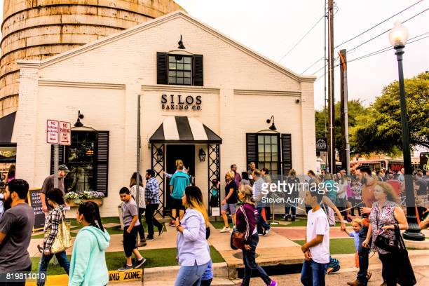 WACO, TX, USA  MARCH 18, 2017: The exterior of Silos Baking Company at Magnolia Market with patrons lined up awaiting entry.