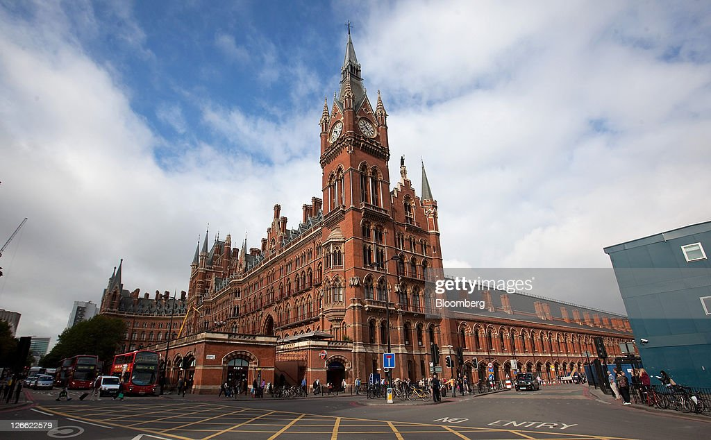 The exterior of St Pancras International railway station stands in London UK on Monday Sept 26 2011 German bratwurst and Hugo Boss suits are set to...