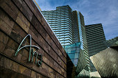 The exterior of the Aria Hotel Casino located in the CityCenter is viewed on December 4 2015 in Las Vegas Nevada Tourism in America's 'Sin City' has...