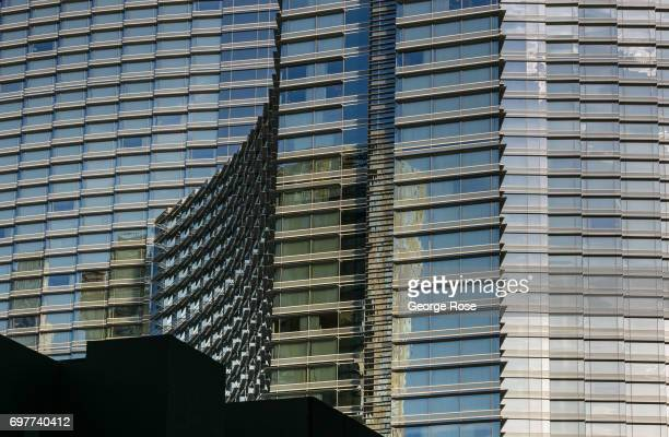 The exterior of the Aria Hotel Casino located in the CityCenter complex is viewed on May 29 2017 in Las Vegas Nevada Tourism in America's 'Sin City'...