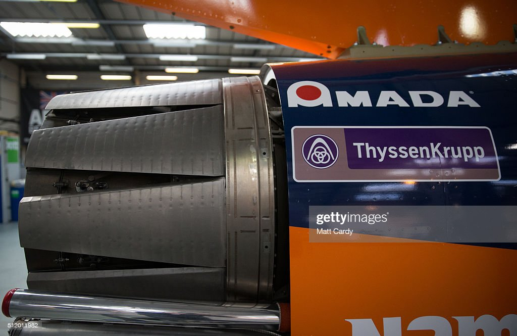 The exterior of the Bloodhound SSC vehicle is seen on display inside the design centre in Avonmouth on February 24 2016 in Bristol England It is...