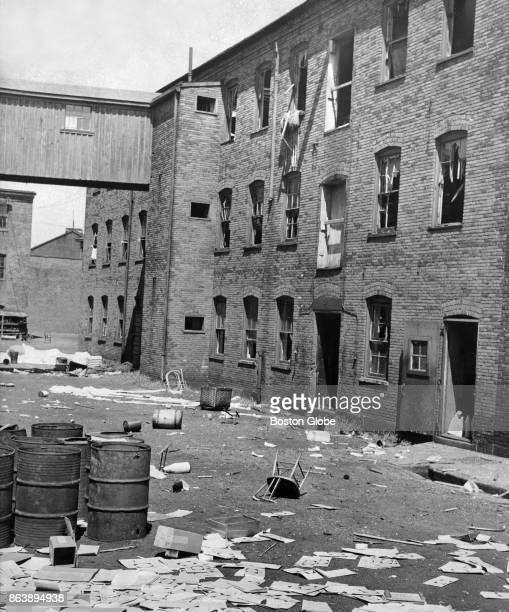 The exterior of the Charlestown State Prison during a riot in Boston July 22 1952