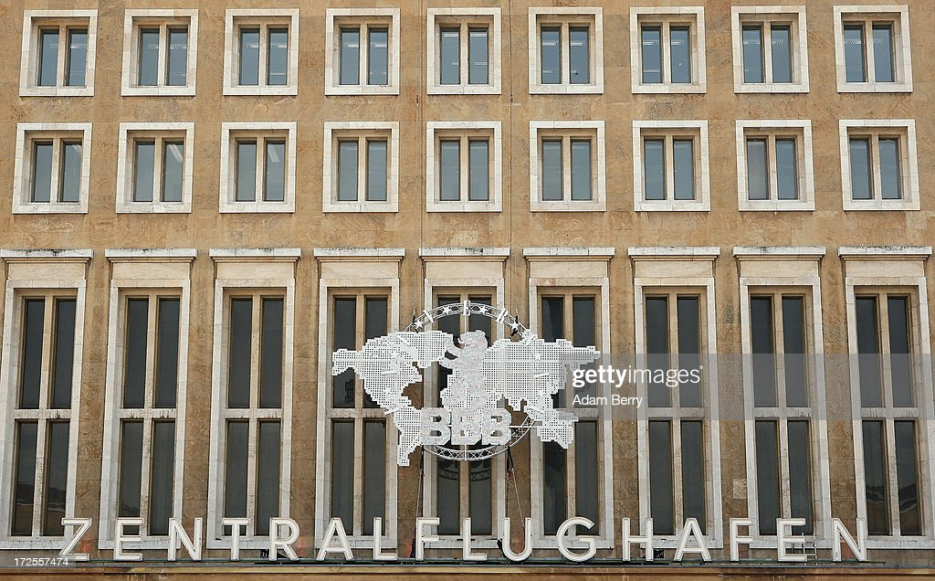 The exterior of the main hall of the Bread and Butter trade show is seen at the former Tempelhof airport during Mercedes-Benz Fashion Week in Berlin on July 3, 2013 in Berlin, Germany.