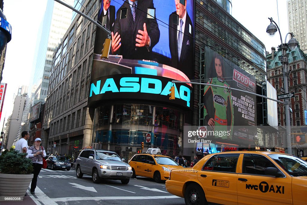 The exterior of the NASDAQ building is seen in Times Square May 6, 2010 in New York City. The Dow Jones industrials plunged nearly 1,000 points before ending the day down at 347.