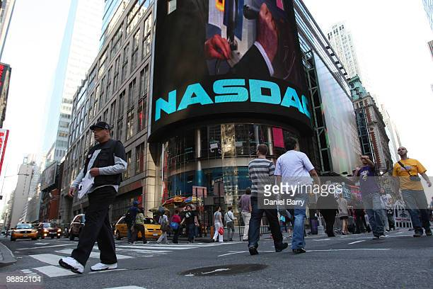 The exterior of the NASDAQ building is seen in Times Square May 6 2010 in New York City The Dow Jones industrials plunged nearly 1000 points before...