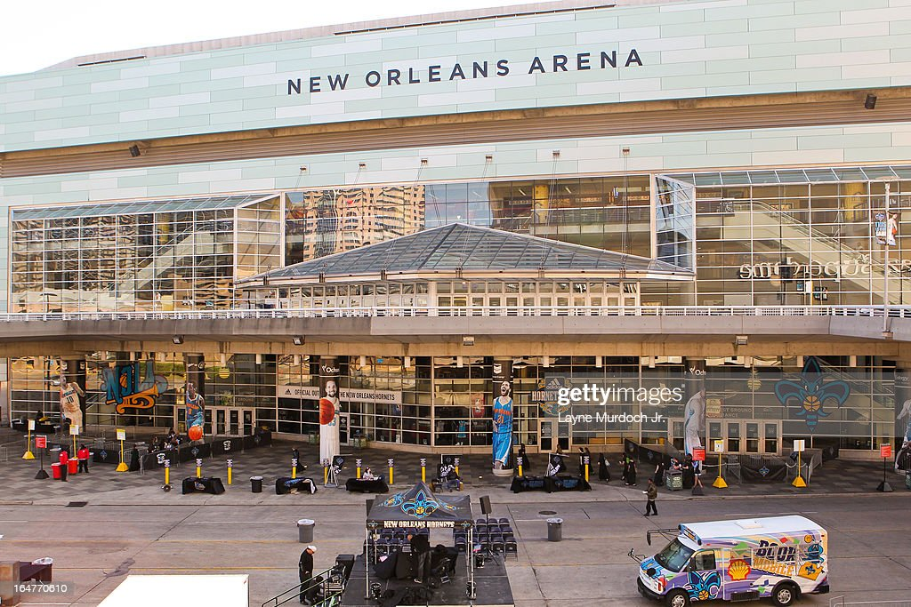 The exterior of the New Orleans Arena is shown before a game between the Denver Nuggets and New Orleans Hornets on March 25, 2013 in New Orleans, Louisiana.