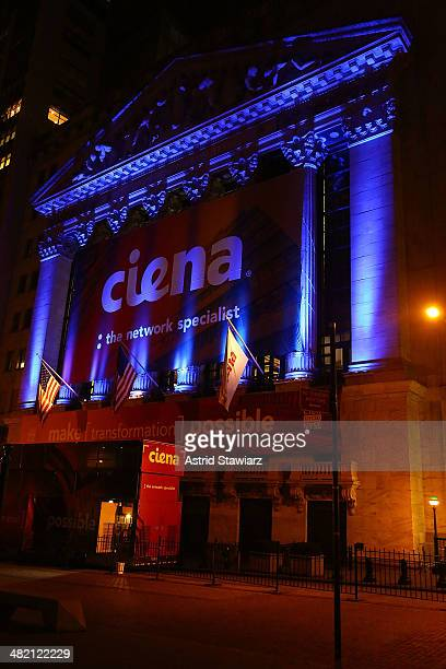 The exterior of the New York Stock Exchange is pictured during Autism Speaks Kicks Off Light it Up Blue Campaign for Seventh Annual World Autism...