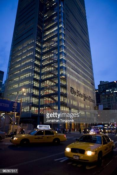 The exterior of the New York Times building designed by architect Renzo Piano on 8th Avenue at 43rd Street May 2008 in New York City