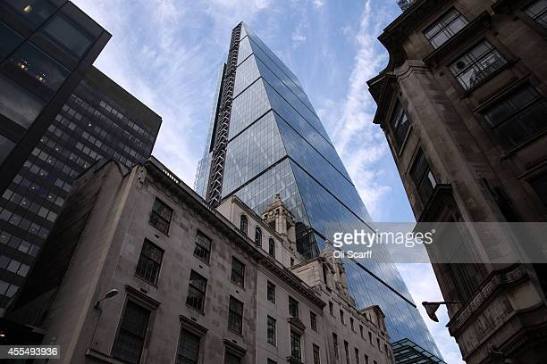 The exterior of the newly constructed skyscraper The Leadenhall Building on September 15 2014 in London England The skyscraper located in the City of...