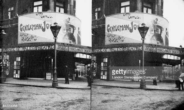 The exterior of the Prince Of Wales Theatre in London's West End 1895 Kitty Loftus and Arthur Roberts are starring in 'Gentleman Joe'